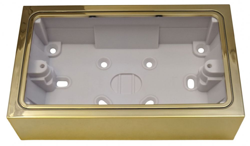 G&H 710B 2 Gang Polished Brass Surface Mounted Double 35mm Pattress Box